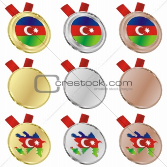 azerbaijan vector flag in medal shapes