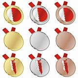 bahrain vector flag in medal shapes