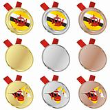 brunei vector flag in medal shapes