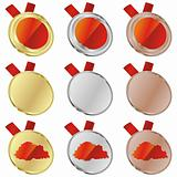 buthan vector flag in medal shapes