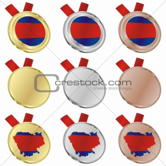 cambodia vector flag in medal shapes