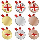georgia vector flag in medal shapes