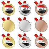 iraq vector flag in medal shapes