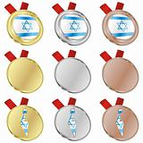israel vector flag in medal shapes