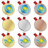 kazakhstan vector flag in medal shapes