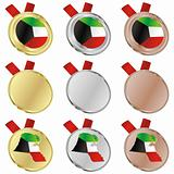 kuwait vector flag in medal shapes