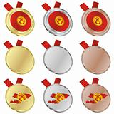 kyrgyzstan vector flag in medal shapes
