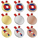 laos vector flag in medal shapes