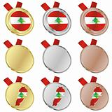 lebanon vector flag in medal shapes