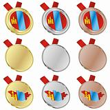 mongolia vector flag in medal shapes