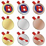 nepal vector flag in medal shapes