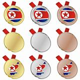 north korea vector flag in medal shapes