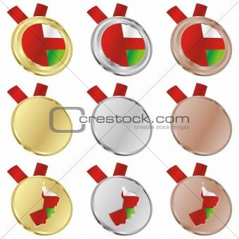 oman vector flag in medal shapes