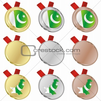pakistan vector flag in medal shapes
