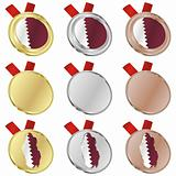 qatar vector flag in medal shapes