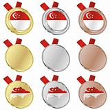 singapore vector flag in medal shapes