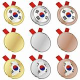 south korea vector flag in medal shapes