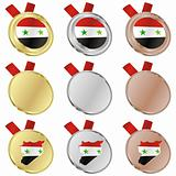 syria vector flag in medal shapes