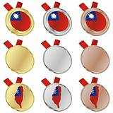 taiwan vector flag in medal shapes