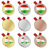tajikistan vector flag in medal shapes