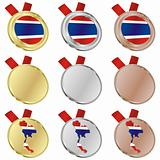 thailand vector flag in medal shapes