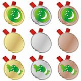 turkmenistan vector flag in medal shapes