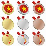 vietnam vector flag in medal shapes