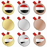 yemen vector flag in medal shapes