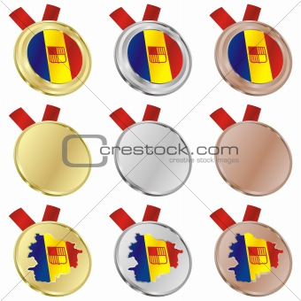 andorra vector flag in medal shapes