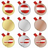 austria vector flag in medal shapes