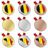 belgium vector flag in medal shapes