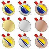 bosnia and herzegovina vector flag in medal shapes