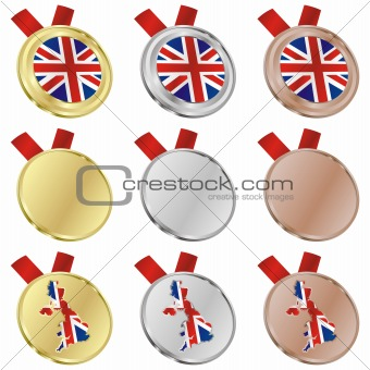 great britain vector flag in medal shapes