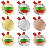 bulgaria vector flag in medal shapes