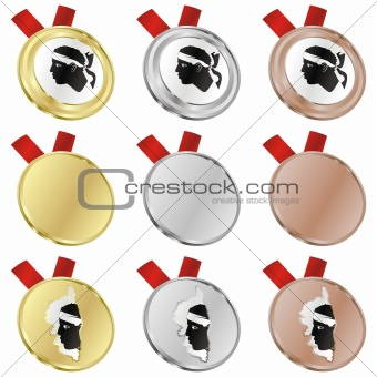 corsica vector flag in medal shapes
