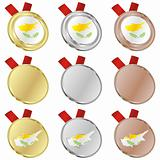 cyprus vector flag in medal shapes