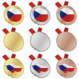 czech vector flag in medal shapes