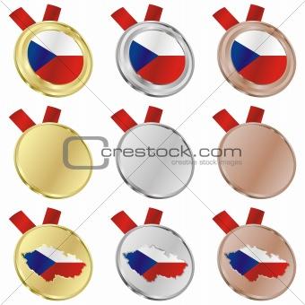 czech vector flag in medal shapes
