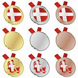 denmark vector flag in medal shapes
