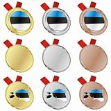 estonia vector flag in medal shapes