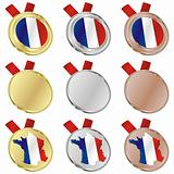 france vector flag in medal shapes