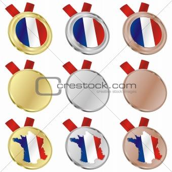 france vector flag in medal shapes