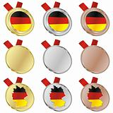 germany vector flag in medal shapes