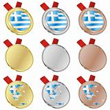 greece vector flag in medal shapes