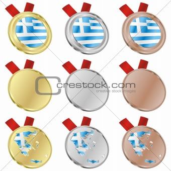 greece vector flag in medal shapes