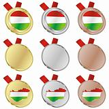 hungary vector flag in medal shapes