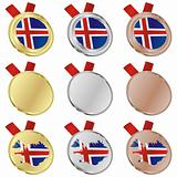 iceland vector flag in medal shapes