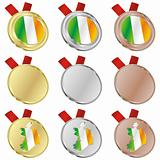 ireland vector flag in medal shapes