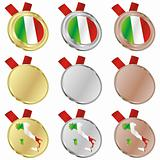 italy vector flag in medal shapes