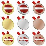 latvia vector flag in medal shapes
